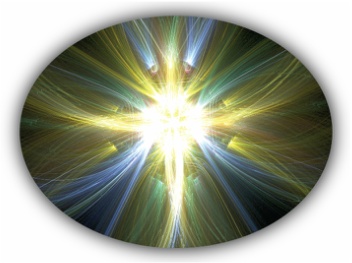 oval shape with a bright yellow starburst in the middle with blue, green, and yellow wisps of light