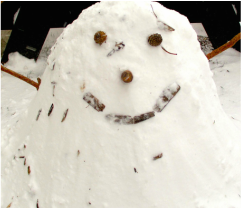 Sweet snowman face representing goodness within all people