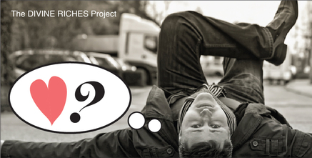 young man lying on street with leg crossed looking up at camera with a thought bubble heart and question mark thinking about relationships