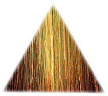 Golden triangle image made from golden and multicolored threads