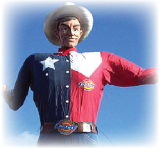 Big Tex statue man in Texas flag shirt