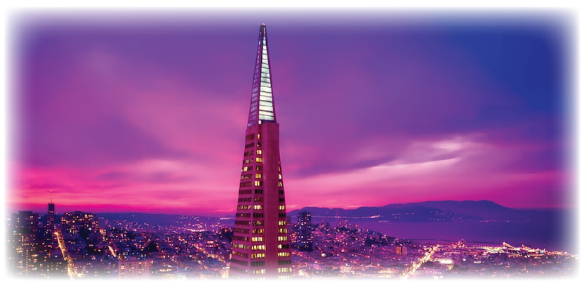 sky scraper with dramatic pink and purple sky with bay and foothills in the distance