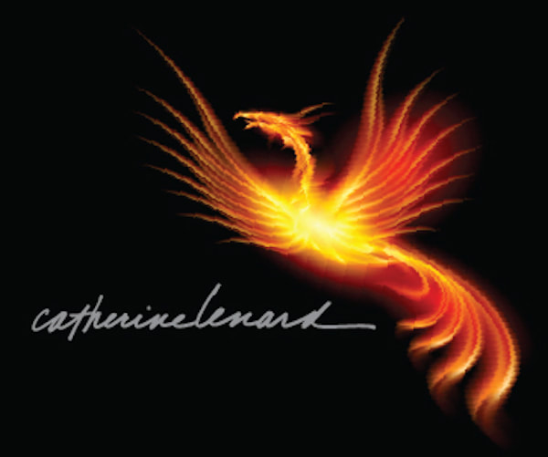 Divine Riches Project flame phoenix logo with Catherine's full signature