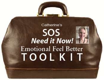 doctor bag with text on it that says Catherine's SOS Need it Now Emotional Feel Better Toolkit