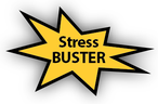 gold star with the words stress buster inside